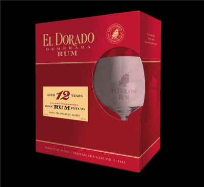 El Dorado Rum 12 Years 40% 70cl Glas Giftbox