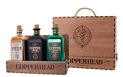 Copperhead Gin Trio 3x50cl in Luxe Wooden Giftbox