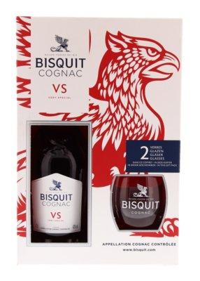 Biscuit VS Cognac 40% 70cl Giftpack 2 glazen