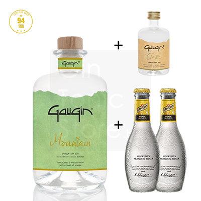 GauGin Mountain 46% 50cl + Mini + 2 Schweppes Premium