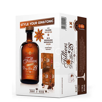 Filliers Classic Dry Gin 28 + Originario botanicals Giftpack
