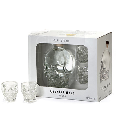 Crystal Head Vodka 70cl + 2 shot glazen Giftpack