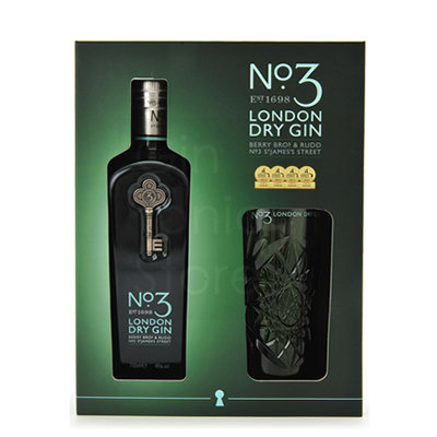Giftbox No3 London Dry Gin 70cl + glas