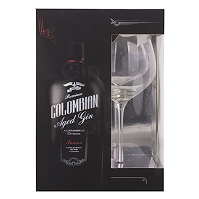 Colombian Treasure Aged Gin 70cl Giftpack + glas