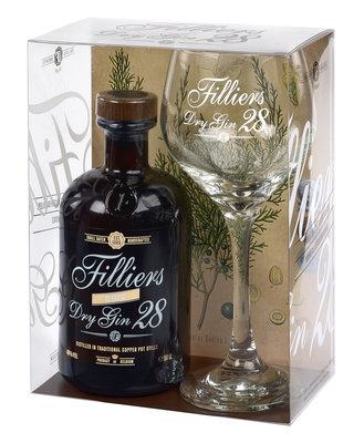 Filliers Classic Dry Gin 28 50cl + glas Giftpack