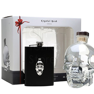 Crystal Head Vodka 70cl + Hip Flask