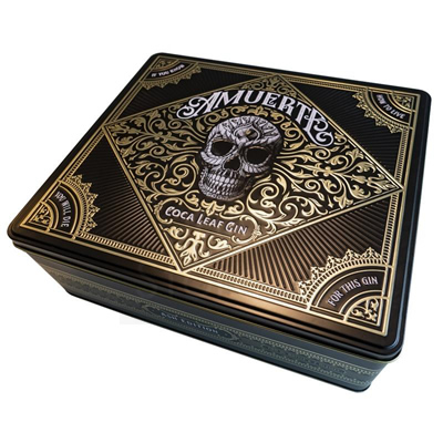 Amuerte Coca Leaf Gin 70cl Black Edition Metal Box Giftpack