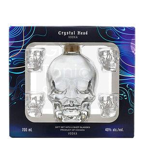 Crystal Head Vodka 40% 70cl + 4 shot glazen Giftpack